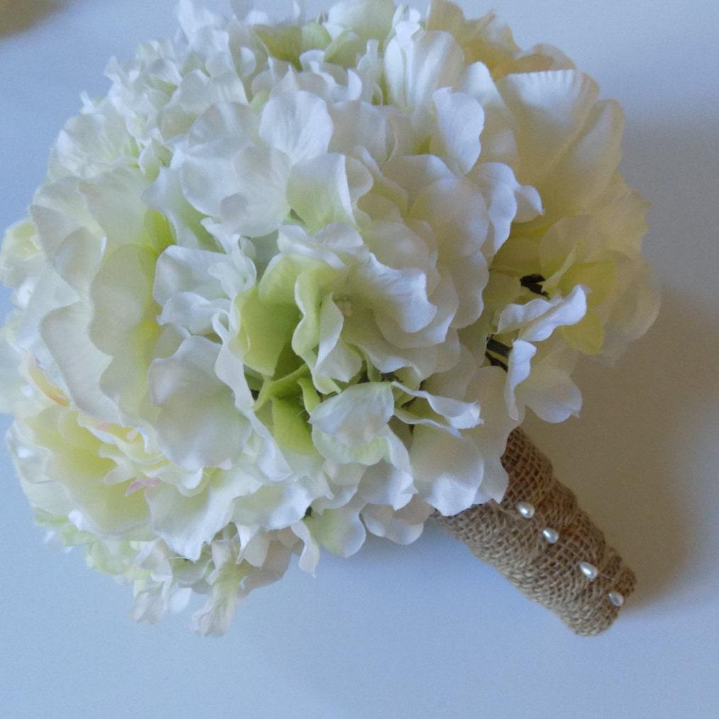 White Wedding Gown Hydrangea: White Hydrangea And White Peony Bridal Bouquet With Burlap