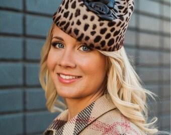 Leopard print hat, felt fashion hat, stylish hat