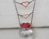 Valentines Day Pretty Mini Perfume Hanging Pink Hearts Silver tone Jewelry Necklace