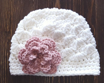 Girl Crochet Hat, White and Rose Pink Hat, Newborn Girl Hat, Baby Girl Hat, Newborn Photo Prop, Girls White Hat, Baby Girl Beanie