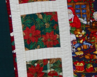 Primitive SCRAPPY QUILTED CHRISTMAS Laprobe Wall Hanging or Crib Quilt  42 x 36 in bright red and green holiday colors. Quiltsy Handmade.