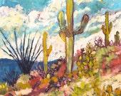Saguaro Cactus - Art Print , Home Decor, Wall Art, Desert Landscape, Sky, Art, Landscape, Southwestern, Arizona, Saguaro Cactus