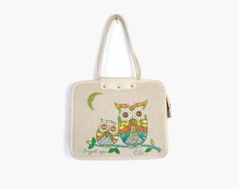 Vintage 60s ENID COLLINS Purse / 1960s Bright Eyes Jeweled OWLS Handbag