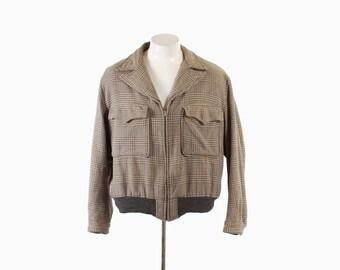 Vintage 50s RICKY JACKET / Men's 1950s Wide Lapel Zip Up Gray & Beige Wool Houndstooth Coat L