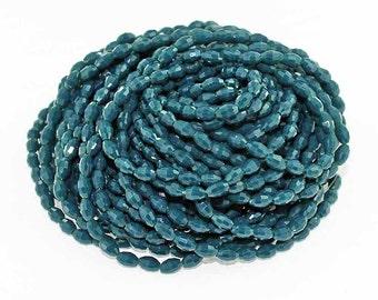 BULK 72 Glass Beads Rice Shaped Faceted 6mm x 4mm Full 16 Inch Strand Slate Blue - BD1055