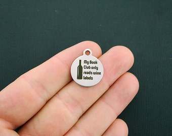 Book Club Stainless Steel Charms My Book Club Reads Wine Labels - Exclusive Line - Quantity Options - BFS1267