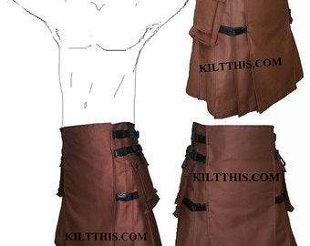 Interchangeable Brown Cotton Twill Utility Kilt Canvas Hiker Design Custom Fit Adjustable with Large Expanding Cargo Pockets