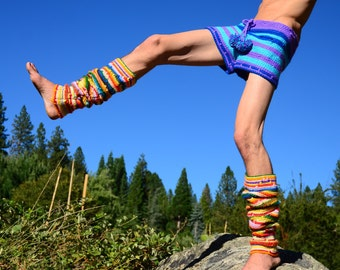 Leg Warmers Crochet Rainbow Stripes Thigh Highs
