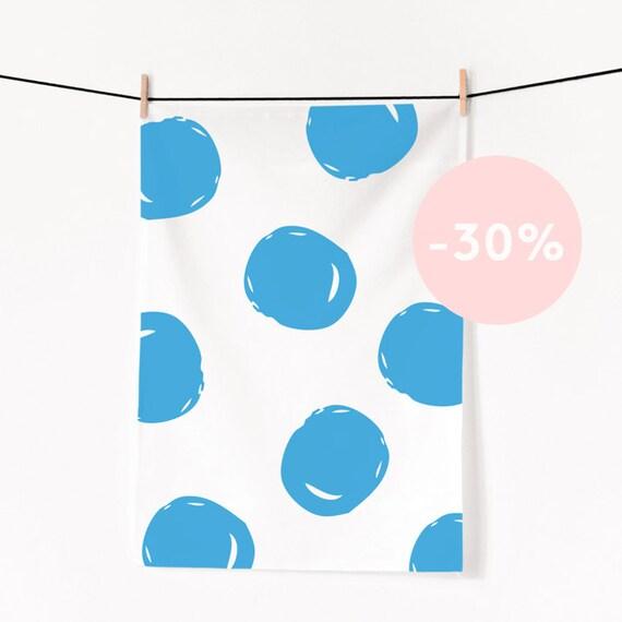 Big blue polka dots tea towel / Screen printed  in limited edition