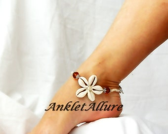 Cowrie Flower Anklet Beach Body Jewerly Beach Ankle Bracelet Amber Sand Flower Anklet Cruise Vacation Beach Resort
