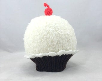 Chocolate Vanilla Cupcake baby hat with a cherry on top