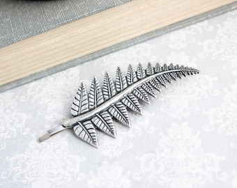 Silver Fern Leaf Hair Pin Antique Silver Leaf Bridesmaid Gift Woodland Nature Hair Accessories Bobbies Garden Wedding Leaves for Hair