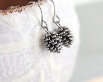 Rustic Silver Pinecone Earrings, Pine Cone earrings, Nature Jewellery, Woodland Wedding, Small Drop Earring Surgical Steel, stocking stuffer