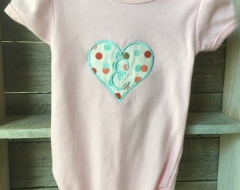 Initial Heart Onesie or Shirt - Children's Clothing, Embroidered, Applique