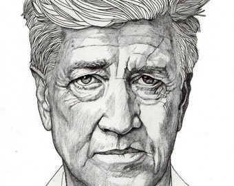David Lynch - Original Signed Paul Nelson-Esch Drawing Art Pencil Illustration Portraiture Retro Fashion Home Decor House Gallery Free s&h