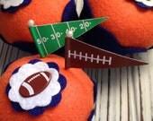 Denver Broncos Super Bowl 50 Football Felt Cupcake - Home Decor, Tailgating, Football Party, Gifts, Pin Cushion, Centerpiece, Table Decor