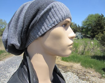 Dread Tams for Men Slouchy Beanie Dreadlock Hats Extra long Tam Charcoal Gray & Light Gray Striped Cotton Knit A1619