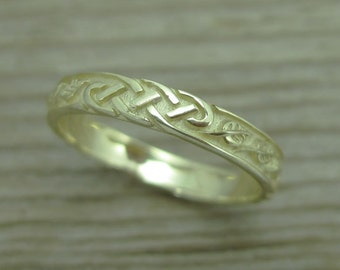 Celtic Wedding Band With Leafs, Wedding Ring, Wedding bend, Leaf Wedding Band,Celtic ring, Celtic Band