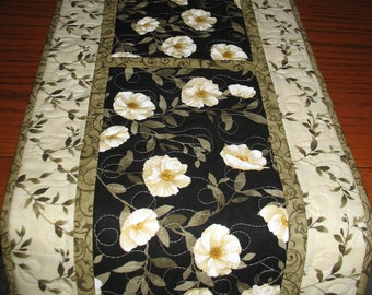 Elegant Table Runner, Midnight Poppies by Wilmington Prints, quilted