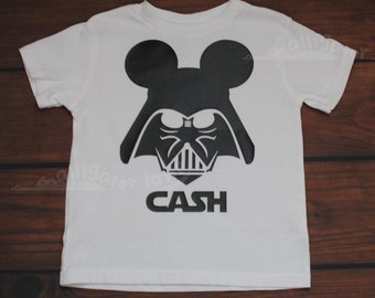 Mickey Vader Shirt with customized name Mickey Inspired Star Wars Shirt Disneyland Disney World Ears -- YOUTH sizes