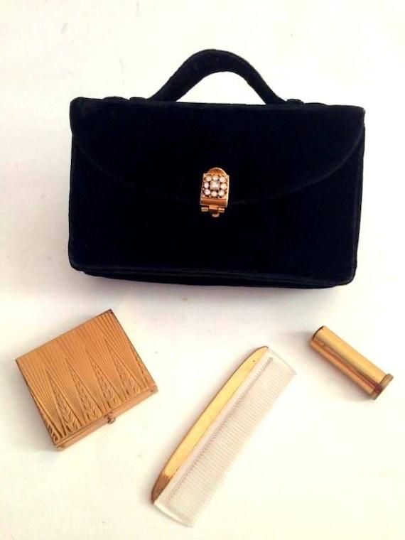 ViNtAgE 40s Rex 5th Avenue Black Velvet Purse Evening Bag Compact Lipstick holder Powder Puff Comb Handbag Clutch Rhinestone Clasp