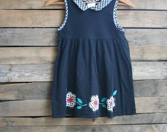 Vintage Children's Black Floral & Gingham Dress