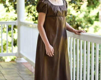Regency Gown, Reenactment, Costume, Taffeta Brown, Size Misses 6