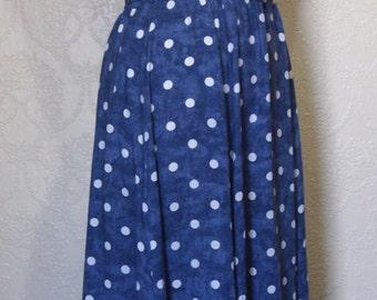 new 1980's dress ST MICHAEL sz. 12 light weight cotton denim blue white polka dots summer dress beach dress rock a billy dress