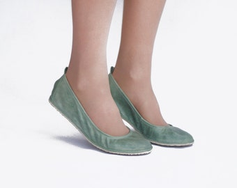 Ballet flats - Eko in Mint - Handmade Leather ballerinas - Barefoot type - Minimalistic soles and CUSTOM FIT