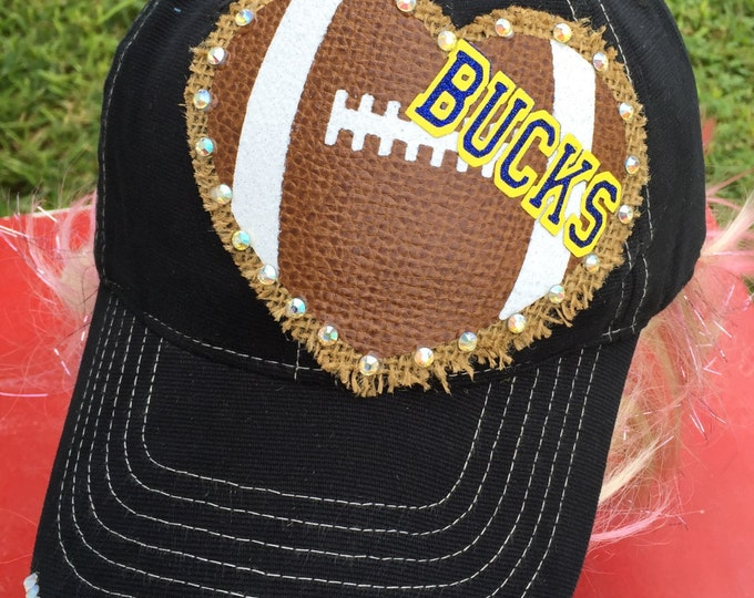 Football Heart Rhinestone Personalized Women Baseball Cap - Football Mom Fan Gear - Sports Gift For Her - Womens Custom Accessories, Trucker