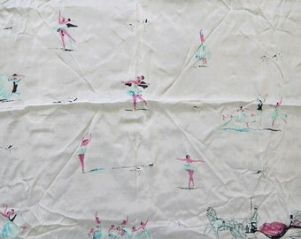 Adorable vintage 40's 50's ballet theme novelty print white silk scarf horse-drawn carriage ballerinas dancers roses blue pink black pin up