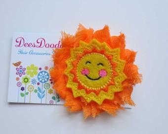 Shabby Orange Smiley Sunshine Felt Embroidered Hair Clip