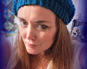 Blue Slouch Hat, Slouchy Cap, Dreads Cap, Mens or Womens Winter Hat, Skull Cap, Blue Crochet Cap, Crochet Slouch Hat, Grunge Hat, Dread Hat
