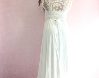 Lace bohemian Wedding Gown Long Sleeve