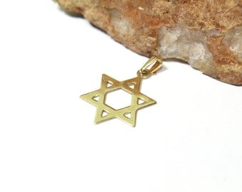 14k Yellow Gold Star of David, Magen David Pendant Necklace