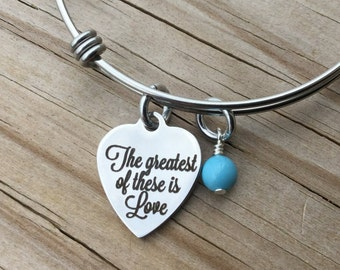 "Love Charm Bracelet- ""The greatest of these is Love"" laser etched charm with an accent bead in your choice of colors"