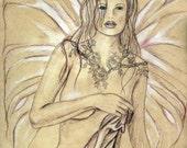 SALE: Fairy Art Print / Fantasy Art / Tea Stained Five Faerey / Fae / Tasteful Nude / Colored Pencil Sketch / Jacqueline Collen-Tarrolly