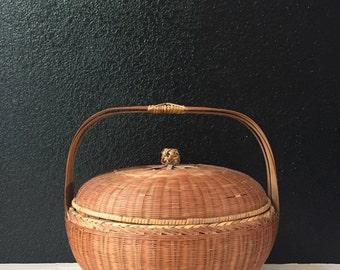 vintage woven wicker rattan basket with handle