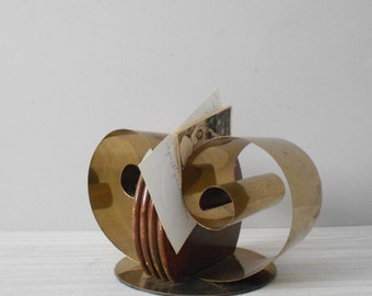SALE / mid century hollywood regency unique brass wood bookend / paper file / note holder / office desk storage