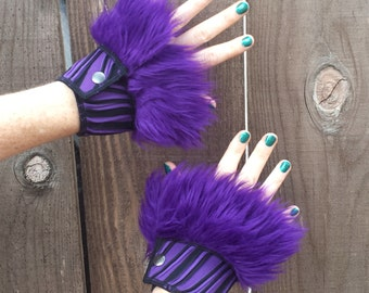 Faux Fur Cuffs, Purple Fur Cuffs, Stripes, Costume, Burning man, Festival, Hipster, Rave, Performance, EDM, Cosplay, Handmade by Sandalamoon