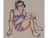Girl Beach original drawing people portrait figurative illustration square