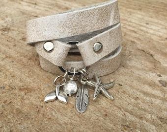 Cream leather bracelet, cream nude bracelet, multi strand leather bracelet, silver pendant bracelet, Charm bracelet, multi wrap bracelet