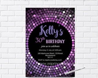 Disco ball purple birthday invitation,  sparkle Glitter invitation for any age 8th 9th10th 20th 30th 40th 50th 60th 70th - card 233