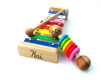 GIFT SET Xylophone and Rattle Personalized Waldorf and Montessori Gift