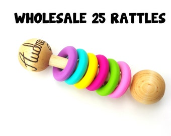 WHOLESALE Wooden Rattle SIX Ring Teether Montessori Inspired CHOOSE 5 Color Combos