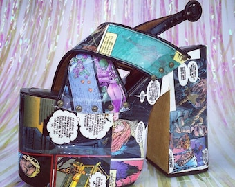 90's Luichiny Comic Book Print Cross Strap Sling Back Platform High Heel Sandals // 7.5 - 8