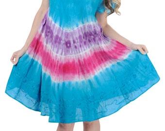 La Leela Rayon Multi Tie dye Beach Dress Vintage Embroidered Ladies Cover up Maxi Midi Top Tunic Blouse Tank Women Dresses - 123755