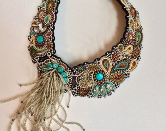Bead Embroidery Necklace with Rochaille Fringe, Statement Necklace