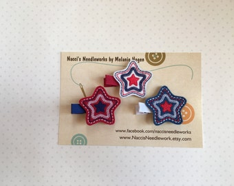 Felt Hair Clips- Red, White and Blue Star Hair Clips