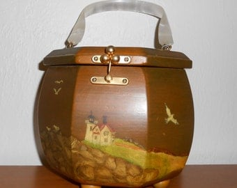 Vintage 1960s hand-painted beach scene wooden octagon box purse w/ pearlized lucite handle